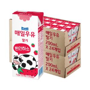 [매일우유] 딸기 멸균우유 200ml 48팩 /우유/매일