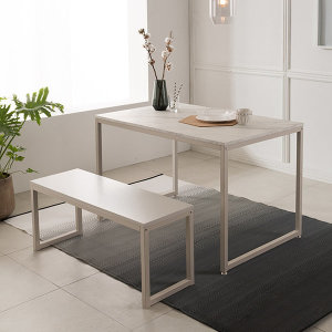 [리바트온라인] 베이킹 4인 화이트 마블식탁세트(벤치1개)