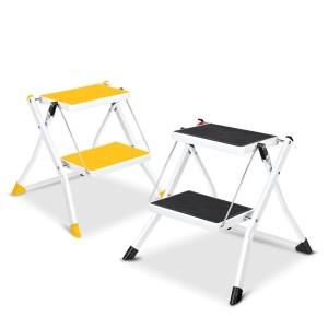 [로티홈시스] 접이식 발판 사다리 2단 미니 안전 가정용 공업용 블랙