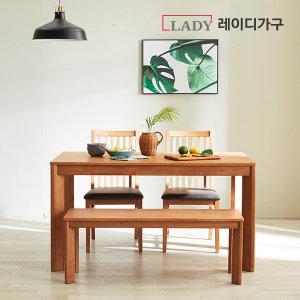 [레이디가구] (19%쿠폰)더휴 4/6인 고무나무 원목식탁 식탁