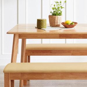 [아씨방] 캔트 4인용 원목식탁(의자2개+벤치)