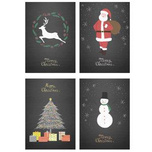 북유럽 인테리어 크리스마스 포스터 블랙 1+1+1+1