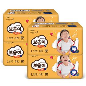 [보솜이]액션핏 팬티 L 대형 남아 32매 x 4팩