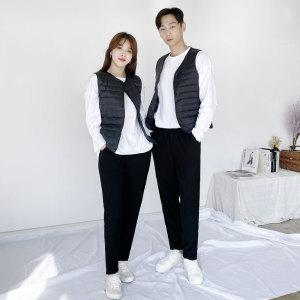 기모 안감 핫팩바지 융털 밴딩 남여 팬츠 블랙 /~XXL