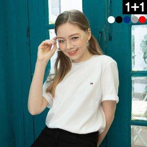 [타미힐피거] 타미힐피거 반팔 티셔츠 남자 여자 면티 2장 세트