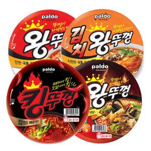 [왕뚜껑] 왕뚜껑 4종(혼합) x 4개 김치/우동/짬뽕/오리지널 16