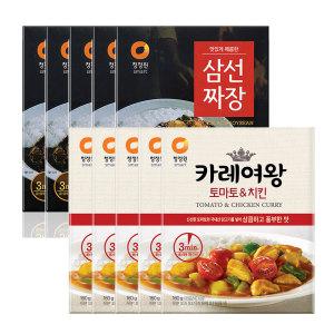 [청정원] 삼선짜장X5개+카레여왕토마토 치킨 160gX5개(즉석)