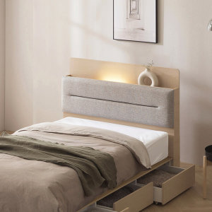 [포스트모던] 빅스마일쿠폰 리얼 원목 LED 평상형 침대 슈퍼싱글 퀸