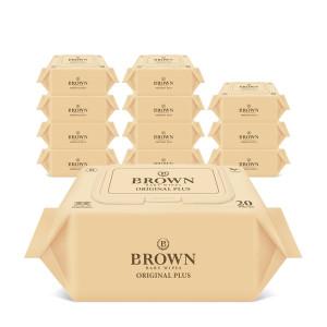 [브라운물티슈] 브라운 아기물티슈 오리지널 플러스 20매 휴대캡 12팩