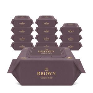 [브라운물티슈] 브라운 아기물티슈 네이처 마일드 20매 휴대캡 12팩