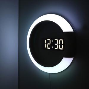 [무아스] 거실 LED벽시계 듀얼 미러클락 무드등