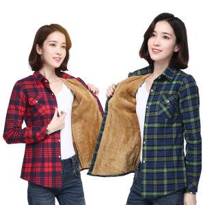 여성 융털 겨울 기모체크남방 슬림핏 셔츠