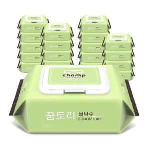 [꿈토리] 아기물티슈 가득찬 챔프 55gsm 캡형 엠보싱100매 10팩
