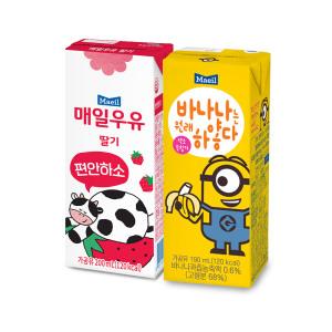 [매일우유] 딸기우유 200ml24팩+바나나는원래하얗다 190ml 24팩