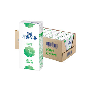 [매일우유] 매일 멸균우유 저지방 1프로 200ML 24팩