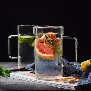 1+1 대용량 강화유리 머그컵+뚜껑 700ml