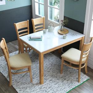 [베스트리빙] 캐빈 하이그로시 4인 식탁세트/원목 의자형