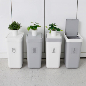 [가쯔] 원터치 프리미엄 사각 휴지통 10L 1개 쓰레기통 청소