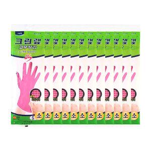 [크린랲] 크린랩 고무장갑 12켤레 / 라텍스 위생장갑 면코팅