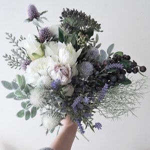 예쁜 조화 꽃다발 셀프웨딩 부케 성묘 인테리어소품