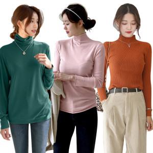 [데일리앤] 겨울 기모 루즈핏 맨투맨 목폴라 니트 티셔츠