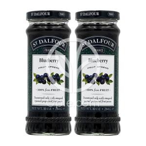 [샹달프] 2개 St. Dalfour 100% 와일드 블루베리 과일 잼 284 g