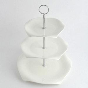하얀 도자기 3단트레이 파티용 식기 케이터링 접시 백자트레이 ...