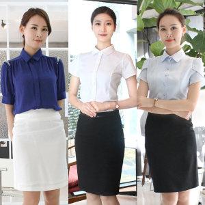 무지셔츠/ 기본반팔남방 / 화이트 여성정장